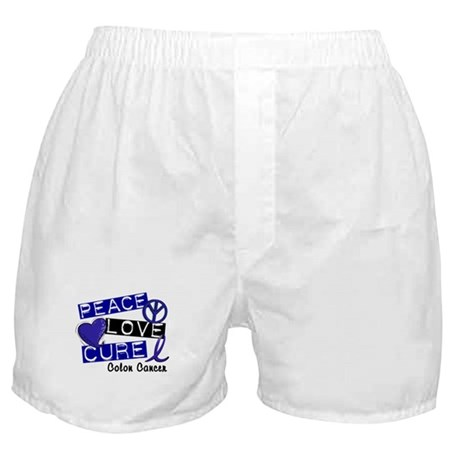 PEACE LOVE CURE Colon Cancer Boxer Shorts