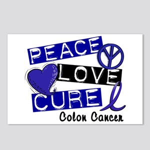 PEACE LOVE CURE Colon Cancer Postcards (Package of