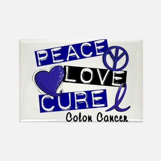 PEACE LOVE CURE Colon Cancer Rectangle Magnet (10