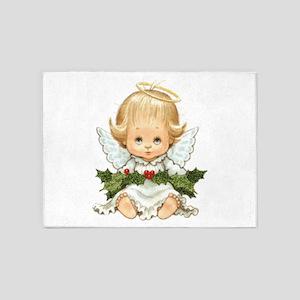 Cute Christmas Baby Angel and Holly 5'x7'Area Rug