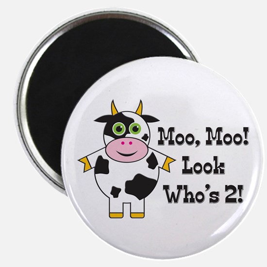 """Cute Cow 2nd B-day 2.25"""" Magnet (10 pack)"""