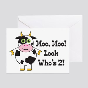 Cute Cow 2nd B-day Greeting Card