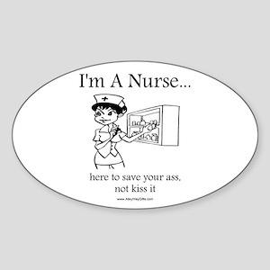 I'm A Nurse Oval Sticker