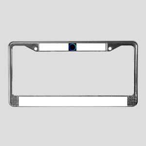 Shocking Electric Blue Round B License Plate Frame