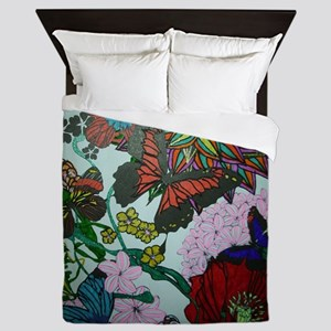 Butterflies and Flowers Queen Duvet