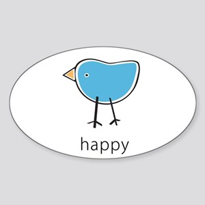 happy blue bird Oval Sticker