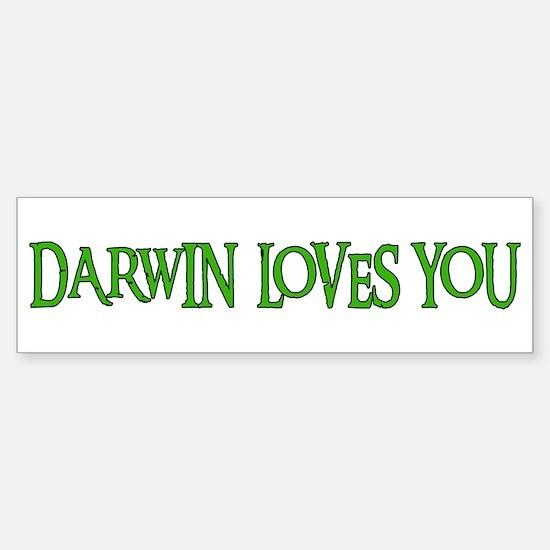 Darwin Loves You Bumper Car Car Sticker