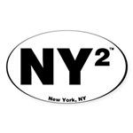 NY Squared Euro Sticker Oval Sticker (10 pk)