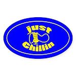 Just Chillin Oval Sticker
