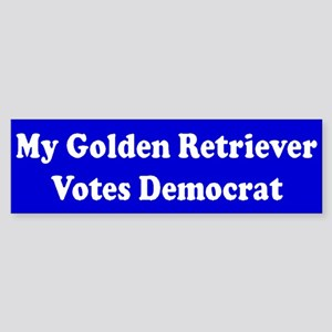 Golden Retriever Votes Dem Blue Bumper Sticker