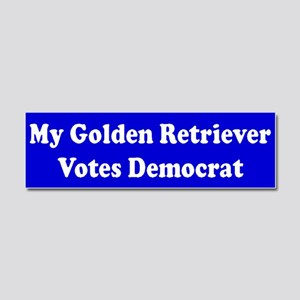 Golden Retriever Votes Dem Blue Car Magnet 10 x 3
