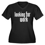 Looking for Work Women's Plus Size V-Neck Dark T-S