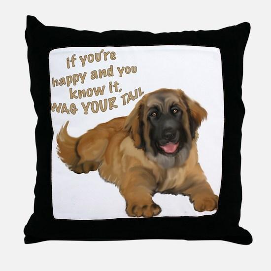 leonberger puppy wag Throw Pillow