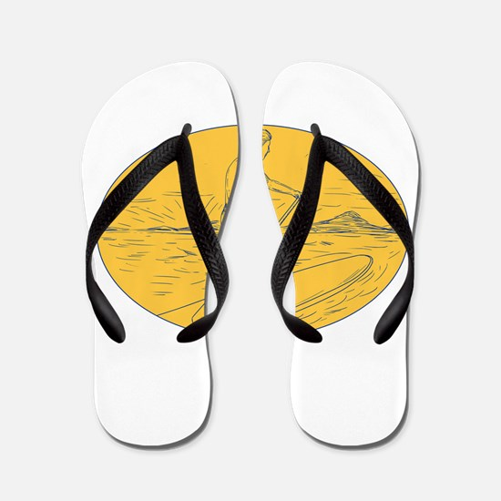 Dude Stand Up Paddle Board Oval Drawing Flip Flops