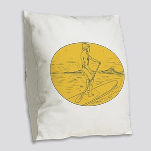 Dude Stand Up Paddle Board Oval Drawing Burlap Thr