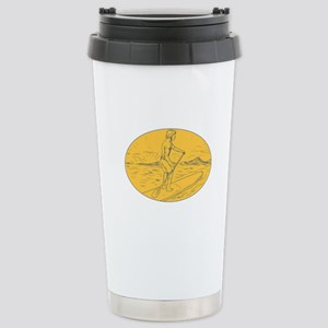 Dude Stand Up Paddle Board Oval Drawing Travel Mug
