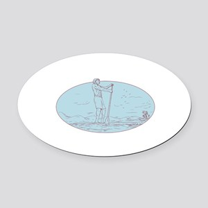 Guy Stand Up Paddle Tropical Island Oval Drawing O