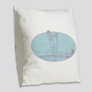 Guy Stand Up Paddle Tropical Island Oval Drawing B