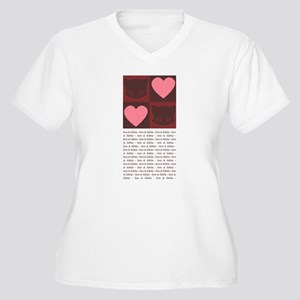 Hearts and Kitties Women's Plus Size V-Neck T-Shir