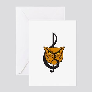 Great Horned Owl Head Musical Note Greeting Cards