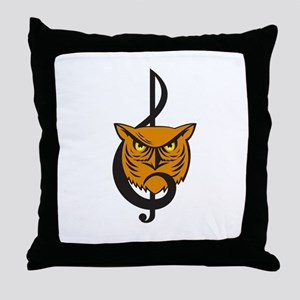 Great Horned Owl Head Musical Note Throw Pillow