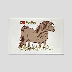 I Love Ponies Rectangle Magnet