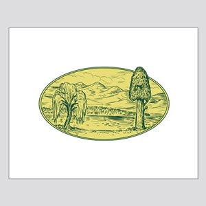 Willow And Sequoia Tree Lake Mountains Oval Drawin