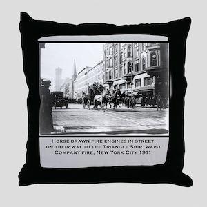 Vintage Photo of NYC Fire Brigade 1911 Throw Pillo