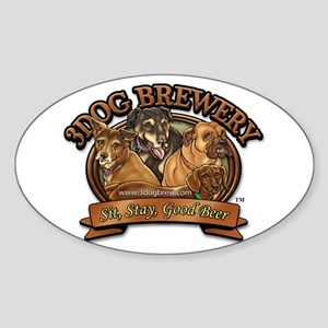 3 Dog Brewery Oval Sticker