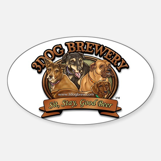 3 Dog Brewery Oval Decal