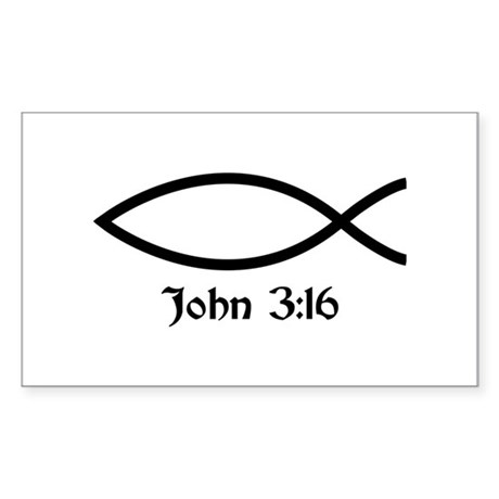John 3:16 Fish Rectangle Sticker