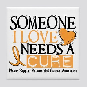 Needs A Cure ENDOMETRIAL CANCER Tile Coaster