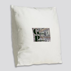 GENERAL PRINCIPLE(MONEY WALL) Burlap Throw Pillow