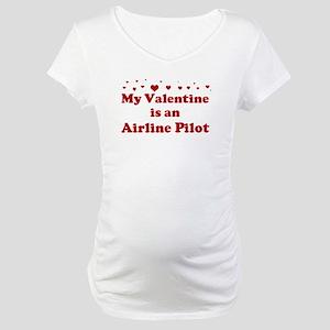 Valentine: Airline Pilot Maternity T-Shirt