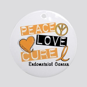PEACE LOVE CURE Endometrial Cancer Ornament (Round