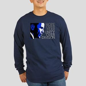 Obama - Hope Over Division - Blue Long Sleeve Dark