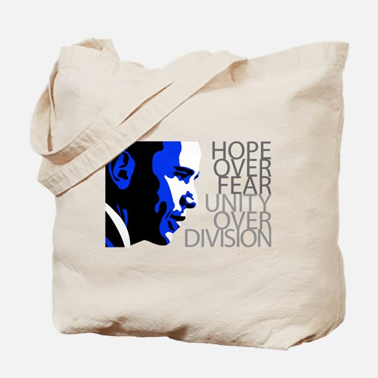 Obama - Hope Over Division - Blue Tote Bag