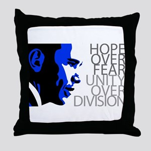 Obama - Hope Over Division - Blue Throw Pillow
