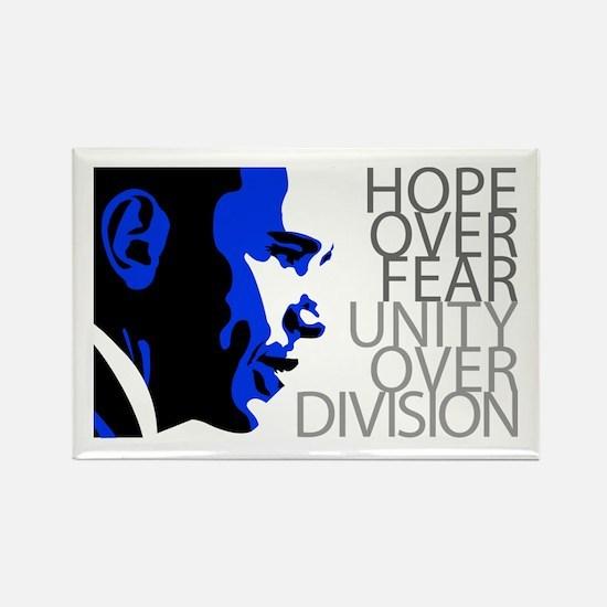 Obama - Hope Over Division - Blue Rectangle Magnet