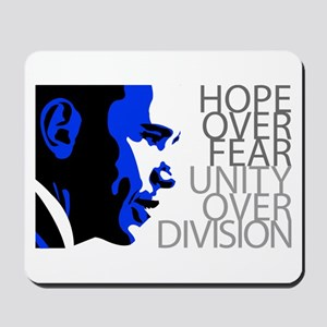 Obama - Hope Over Division - Blue Mousepad