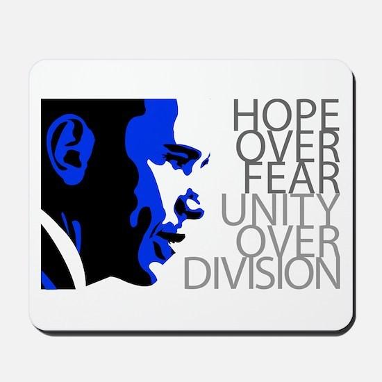 Obama - Hope Over Division - Blue Mousepad