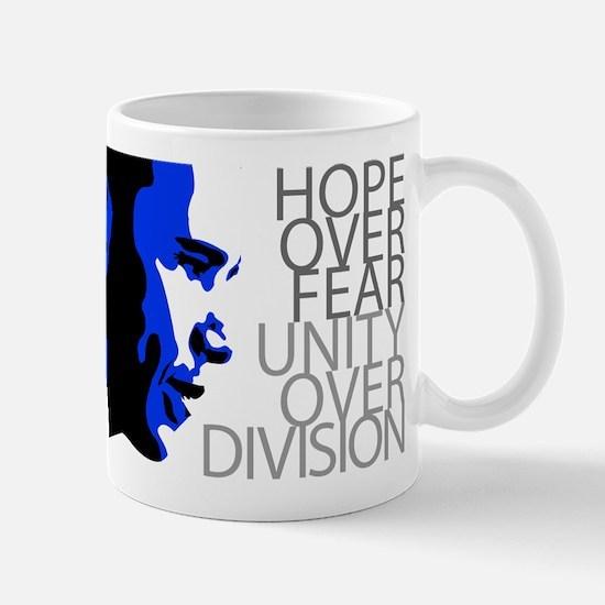 Obama - Hope Over Division - Blue Mug