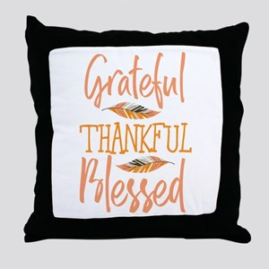 Grateful Thankful Blessed Feather Tha Throw Pillow