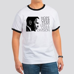 Obama - Hope Over Division - Grey Ringer T