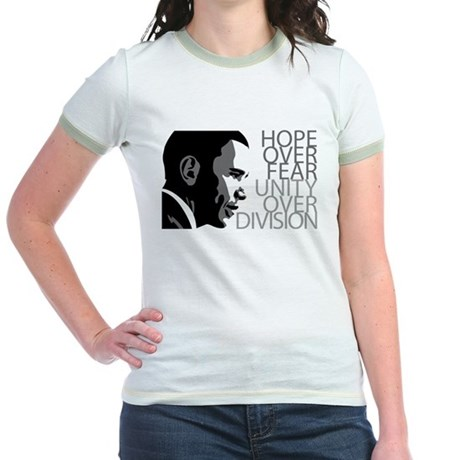 Obama - Hope Over Division - Grey Jr. Ringer T-Shi