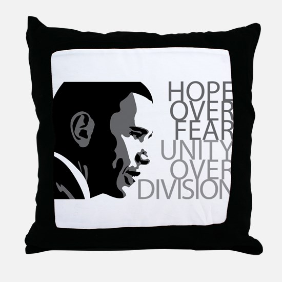 Obama - Hope Over Division - Grey Throw Pillow