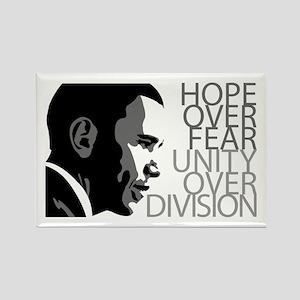 Obama - Hope Over Division - Grey Rectangle Magnet