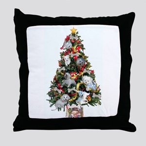 Merry Maltese Christmas Shop Throw Pillow