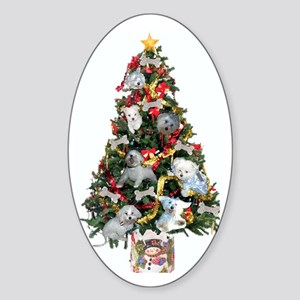 Merry Maltese Christmas Shop Oval Sticker