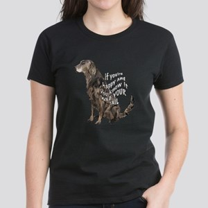happy flatcoat retriever Women's Dark T-Shirt